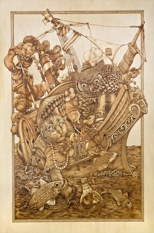 """Pleasure Cruise"" – pyrography by David Stanley"