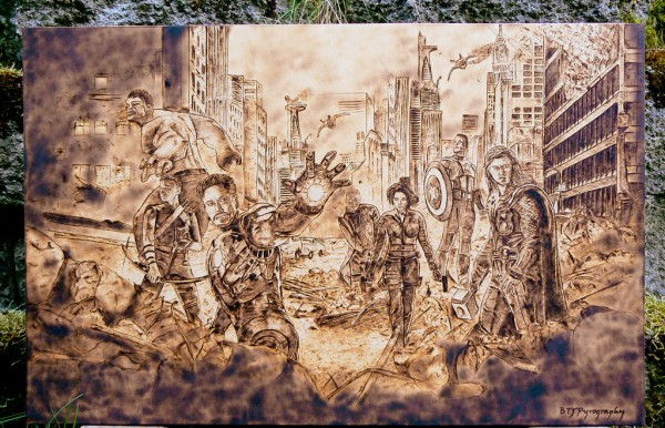 """The Avengers"" - pyrography by Brandon Jones"