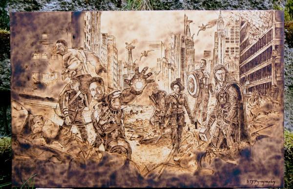 """The Avengers"" - pyrography by Brandon Jones"