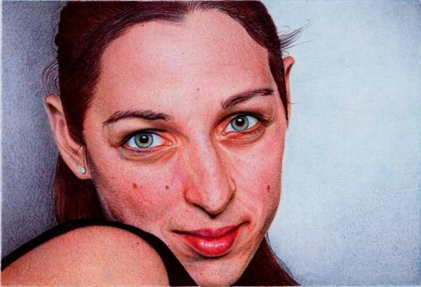 """Woman's Portrait"" - Ballpoint Pen Artwork by Samuel Silva"