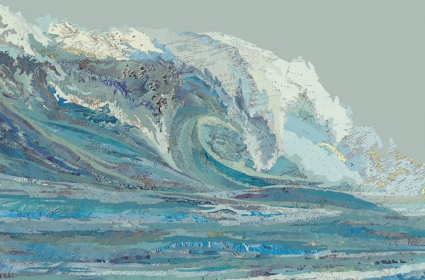 Mylan's Wave, 2012 Inlaid maps, acrylic on panel by Matthew Cusick