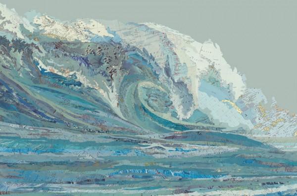 Mylan's Wave, 2012 Inlaid maps, acrylic on panel by Matthew Cusick
