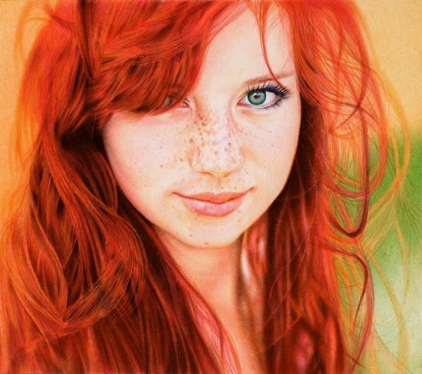 """Redhead Girl"" - ballpoint pen portrait by Samuel Silva"