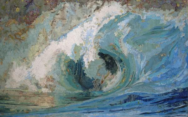 Fiona's Wave, 2005 Inlaid maps on panel by Matthew Cusick