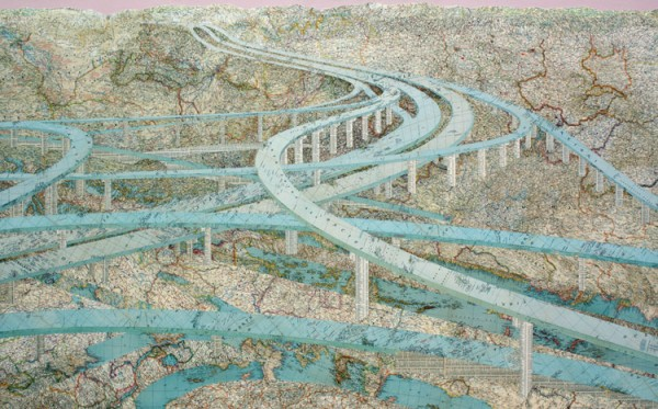 Many Rivers, 2009 Inlaid maps, acrylic, on panel by Matthew Cusick
