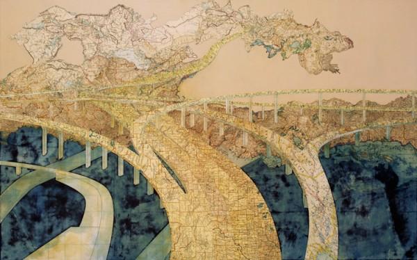 Chasing the Dragon, 2006 Inlaid maps, acrylic, on panel by Matthew Cusick
