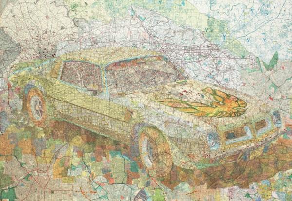 Transamerica, 2004 Inlaid maps on panel by Matthew Cusick