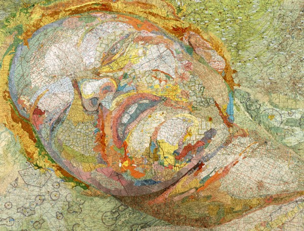 Bonnie, 2004 Inlaid maps on panel by Matthew Cusick