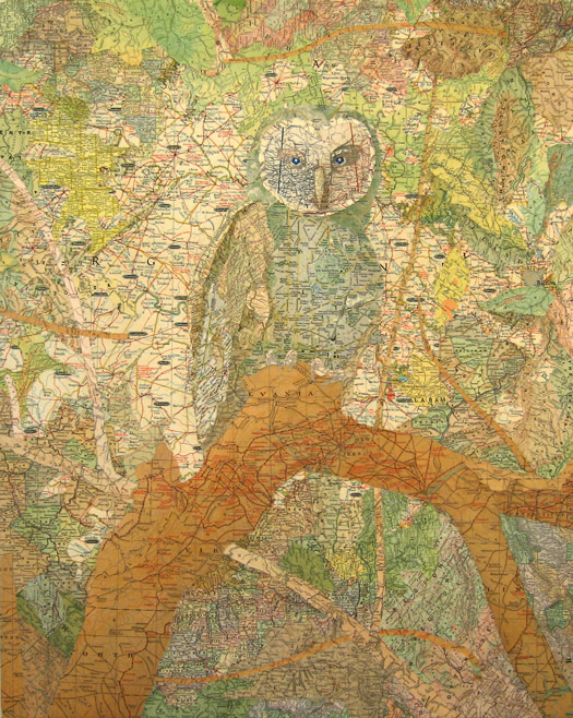 Patriarch (original), 2006 Inlaid maps on panel by Matthew Cusick