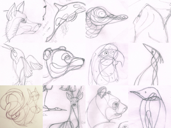 The original drawings from the final 12 artworks in the calendar by Ben O'Brien via You The Designer