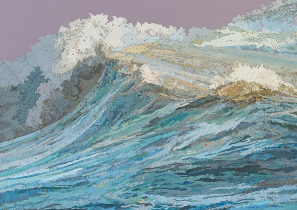 The Rachel's Wave, 2011 Inlaid maps, acrylic on panel by Matthew Cusick