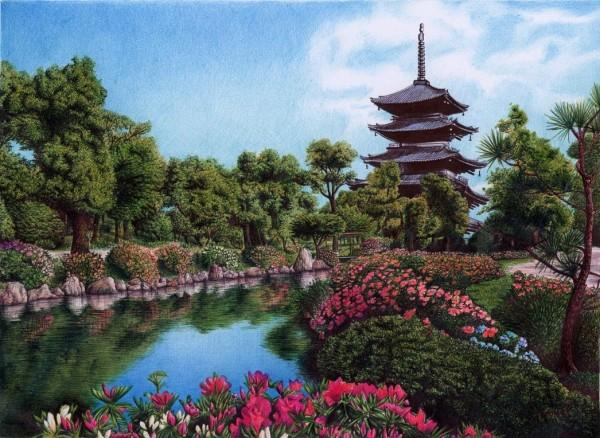 """Palace garden in Kyoto, Japan"" - Ballpoint Pen Artwork by Samuel Silva"