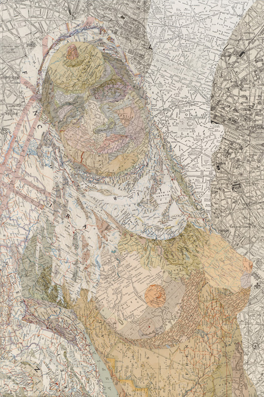 Jezebel, 2012 Inlaid maps on panel by Matthew Cusick