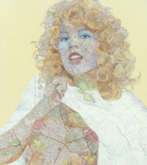 Shauna, 2011 Inlaid maps, acrylic, on panel by Matthew Cusick