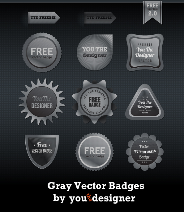 Gray Vector Badges by You The Designer