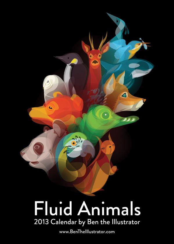 Fluid Animals 2013 Calendar by Ben O'Brien via YouTheDesigner