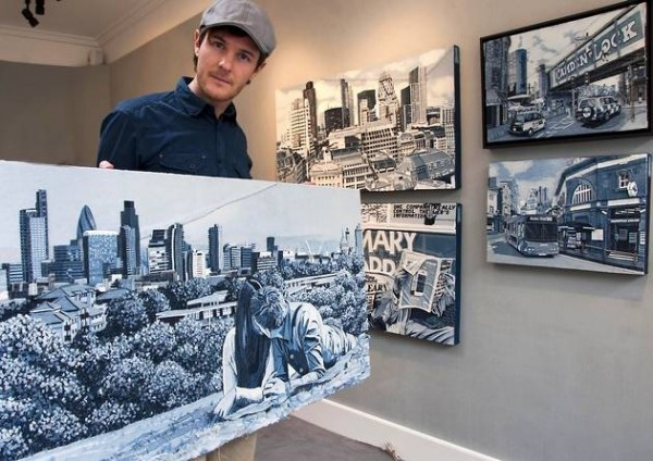 """Ian Berry aka """"Denimu"""" in an exhibition at Catto Gallery Hampstead"""