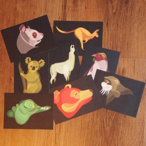 """Earth"" Fluid Animals postcards set by Ben O'Brien via You The Designer"
