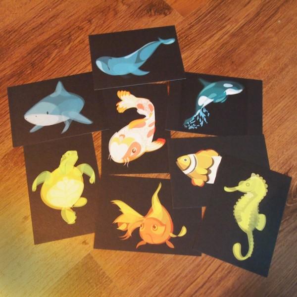 """Water"" Fluid Animals postcards set by Ben O'Brien via You The Designer"