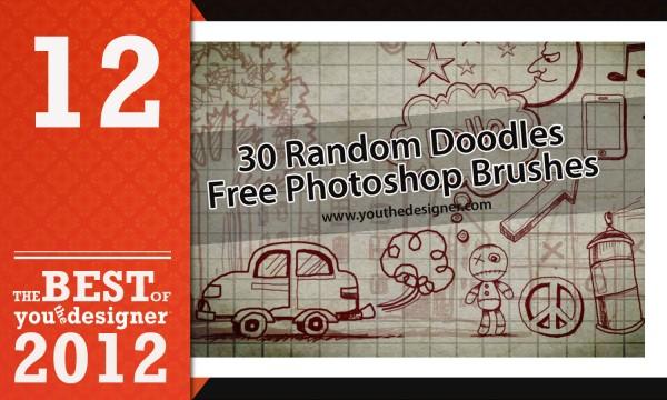 30 Random Doodles Photoshop Brushes