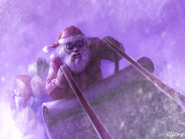Santa sledding by RogerStork