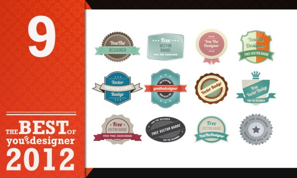 Vector Art Free Download - 12 Web Badges