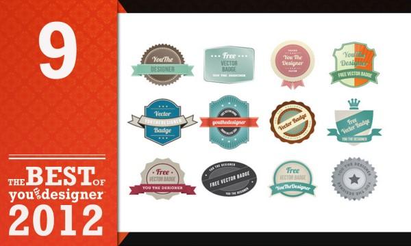 Vector Art Free Download - 12 Web Badges
