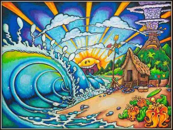 KIDS BEACH (c) Drew Brophy 2011 - Mixed Media on Box Canvas