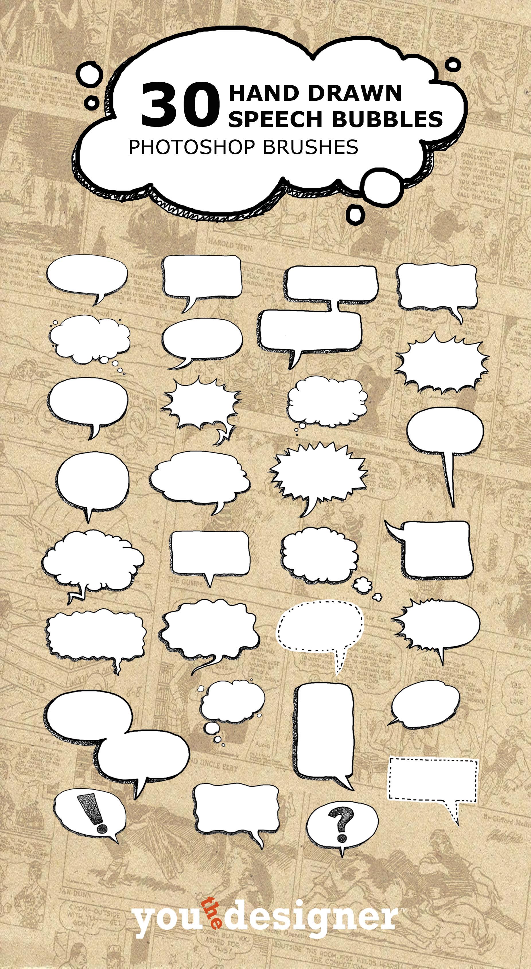 30 Hand Drawn Speech Bubble Photoshop Brushes – UCreative.com