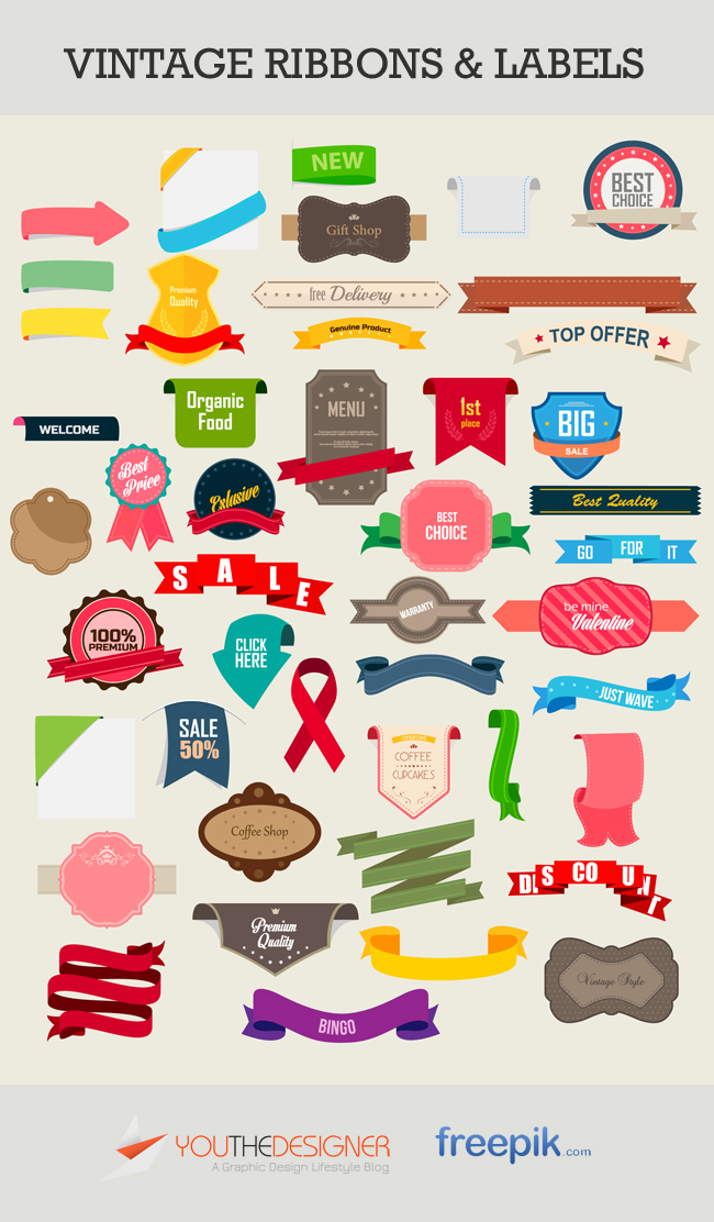 Vintage Labels and Ribbons Vector Pack