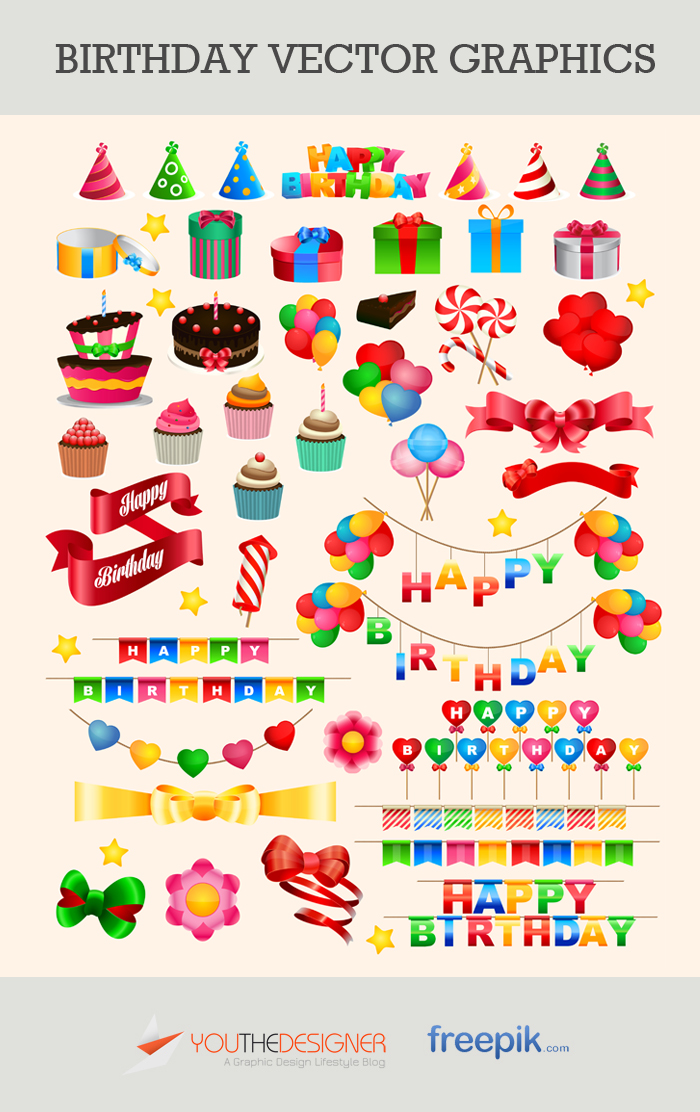 Free Vector Pack: Birthday Vector Graphics via You The Designer