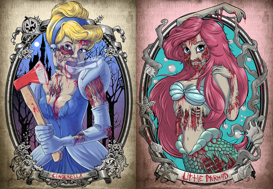 Cinderella and Ariel Zombified by Witit Karpkraikaew