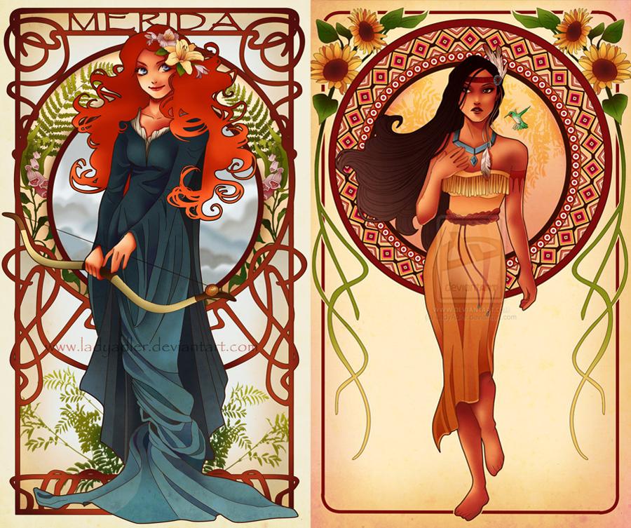 Merida and Pocahontas by Hannah-Alexander