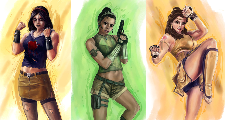 Disney Fighters - Snow White, Tiana and Belle by JoshWMC