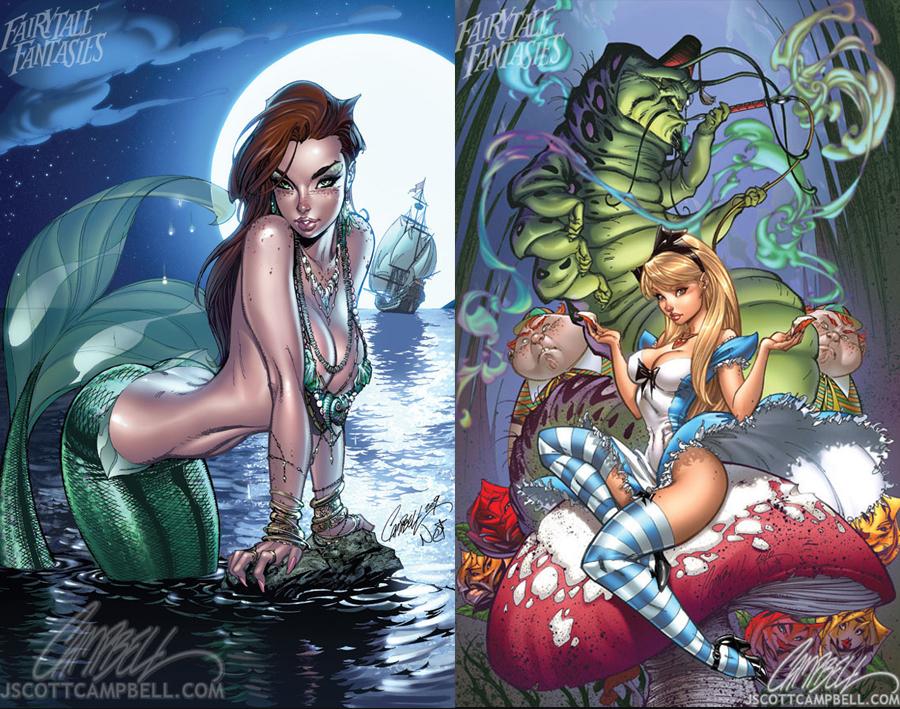 The Little Mermaid | Alice in Wonderland by J. Scott Campbell