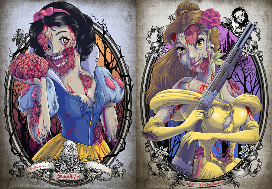 Snow White and Belle Zombified by Witit Karpkraikaew