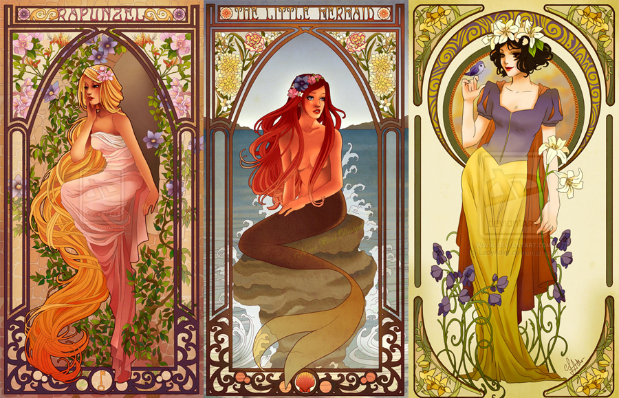 Rapunzel, Ariel and Snow White by Hannah-Alexander