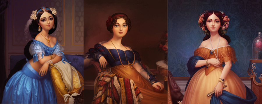 Jasmine, Snow White and Belle | Portraits by Jessica Oyhenart