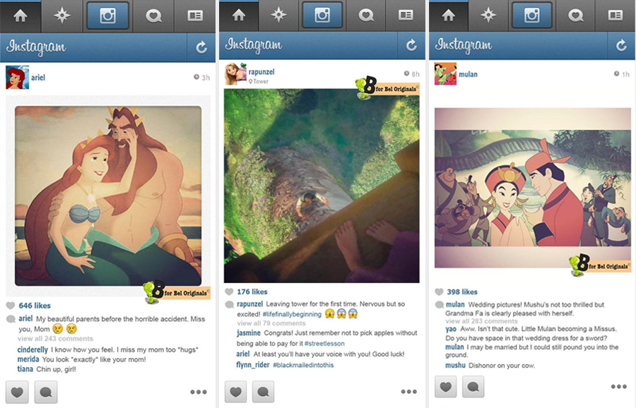 If Disney Princessess had Instagram by B for Bel