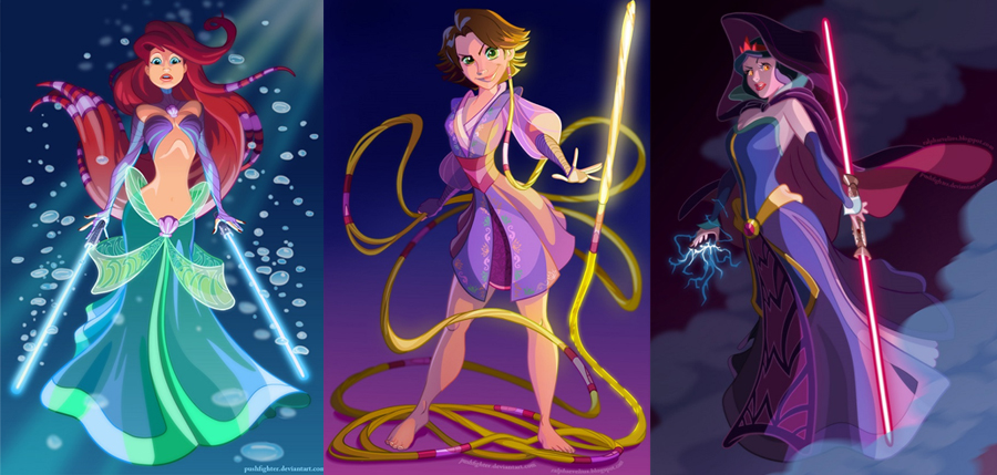 Ariel, Rapunzel and Snow White as Jedi Knights by Ralph Sevelius