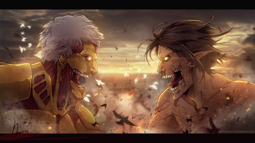 Armored Titan vs Eren by neeroctibris