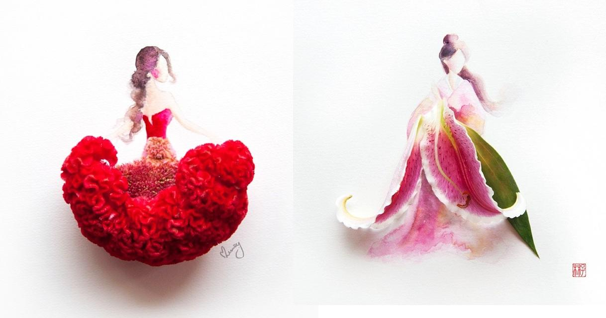 Lovely Flower Petal Art By Zhi Wei