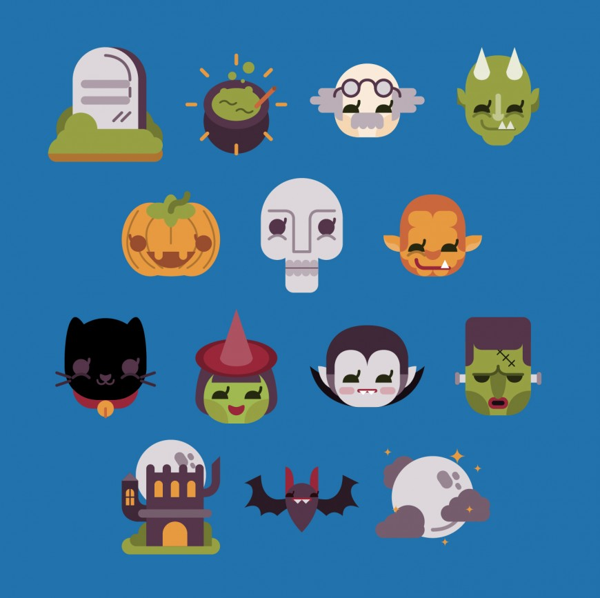 14 Flat Halloween Vector Set
