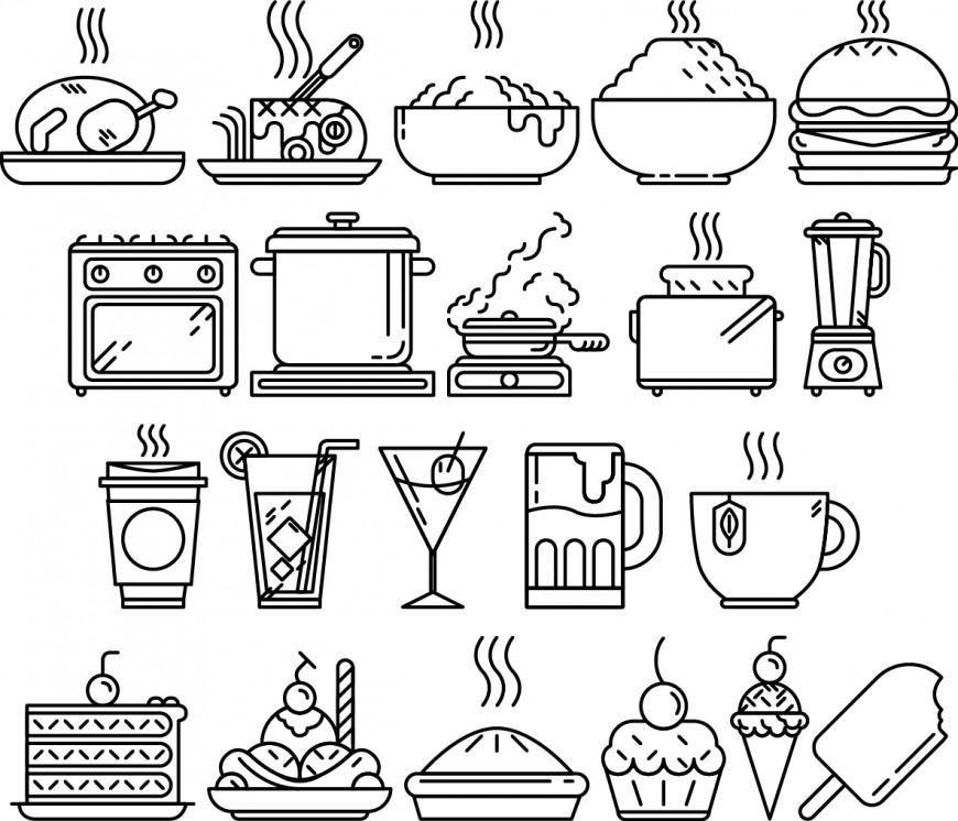 20-Food Vector Line Art Freebie
