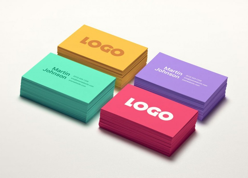 Colorful Business Card Mockup MockUp