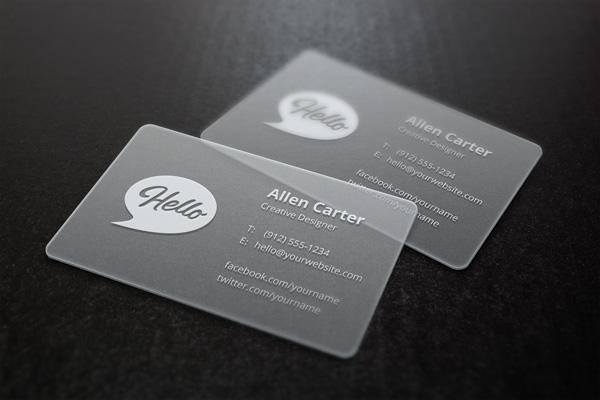 Translucent Business Card Mockup Transparent Cards 600