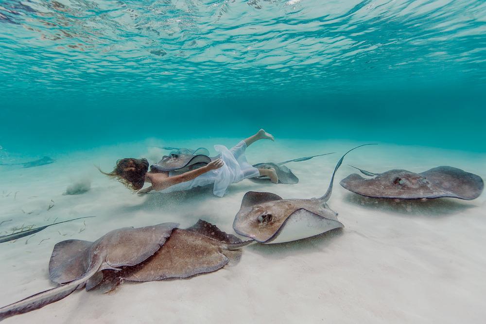 Elena Kalis Underwater Photography Stingray and Girl 6
