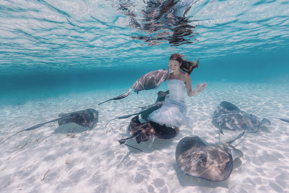 Elena Kalis Underwater Photography Stingray and Girl 7