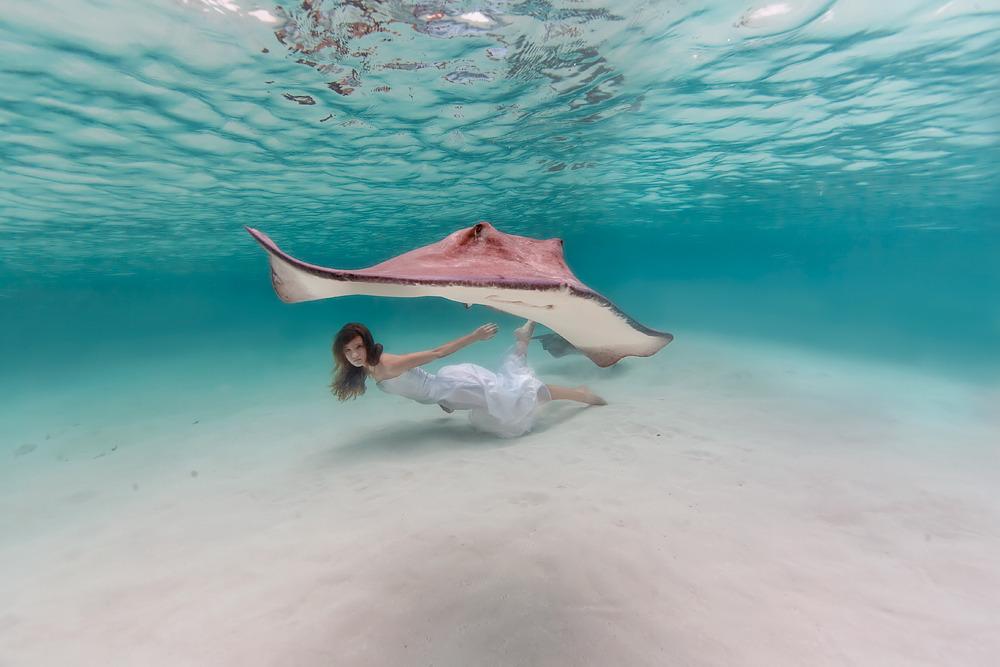 Elena Kalis Underwater Photography Stingray and Girl