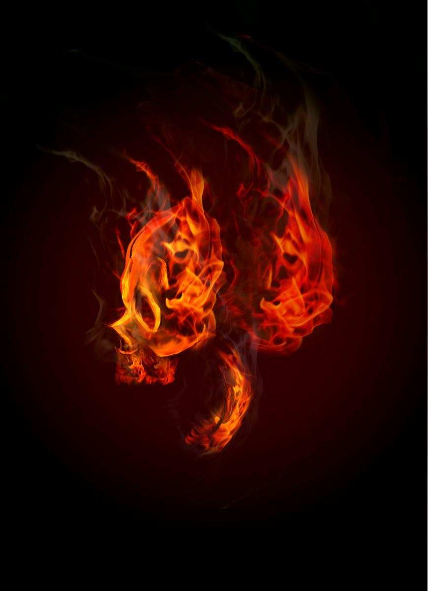 FLAMING SKULL TUTORIAL RAW FINAL IMAGE